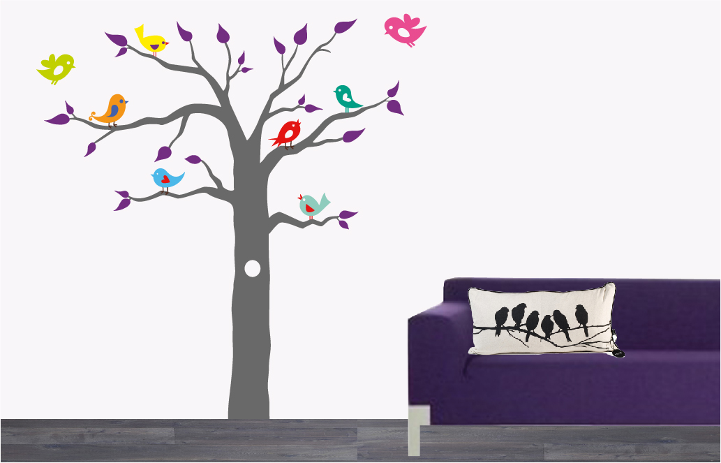 Muurstickers Slaapkamer Bloemen : Boom met vogeltjes De Fabriek ...