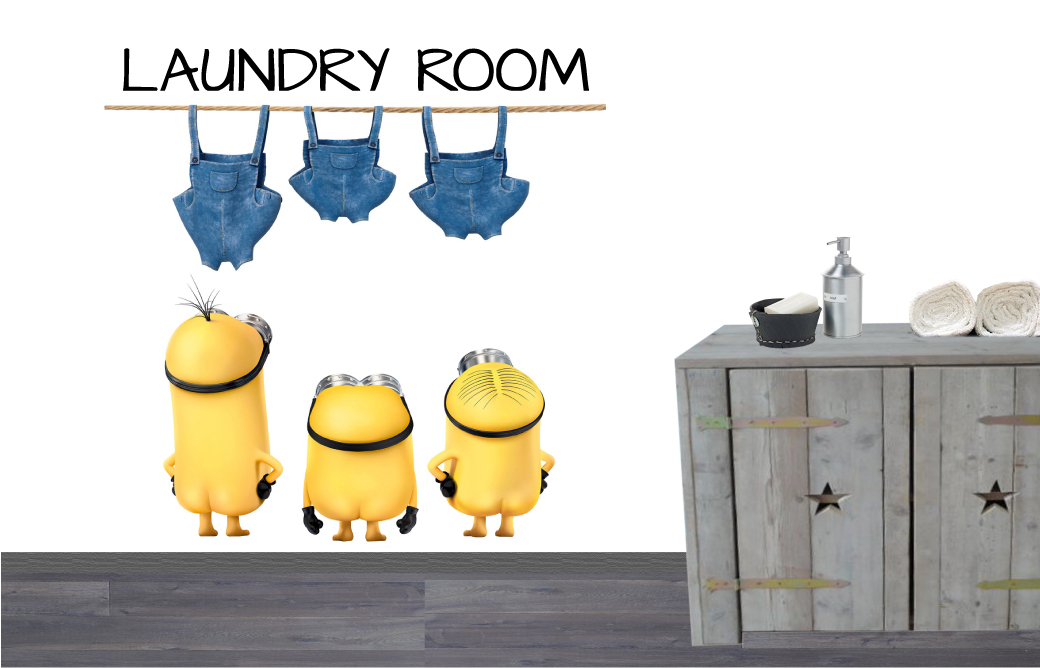 Muursticker Minions Laundry Room De Fabriek Muurstickers
